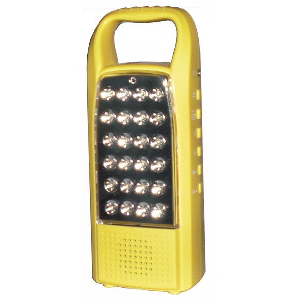 Lampara portatil recargable OPALUX modelo 620 amarilla, con radio FM y cargador USB